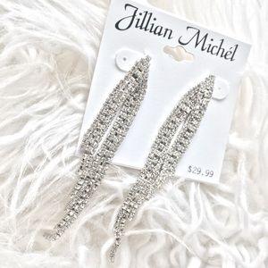 NWT JILLIAN MICHÉL Rhinestone Silver Earrings